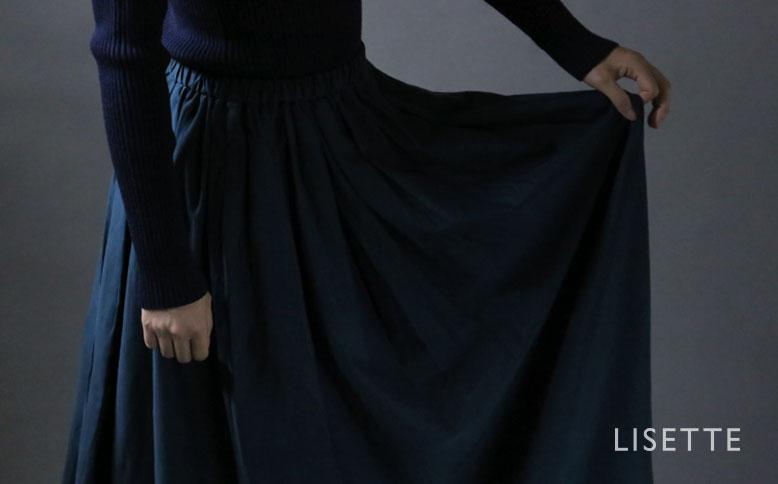 コットンシルクサテンのタックギャザ―スカート