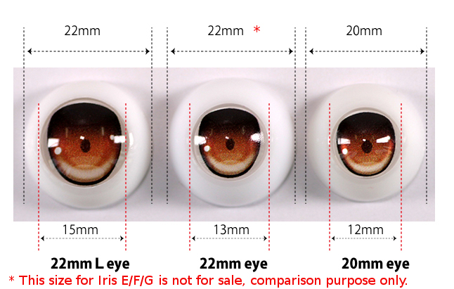 Size comparison for 22mm(L) eyes/22mm eyes/20mm eyes