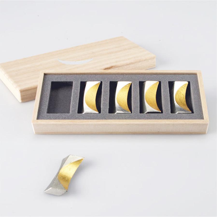 【福袋 竹】能作  箸置「月」5ヶ入 錫製