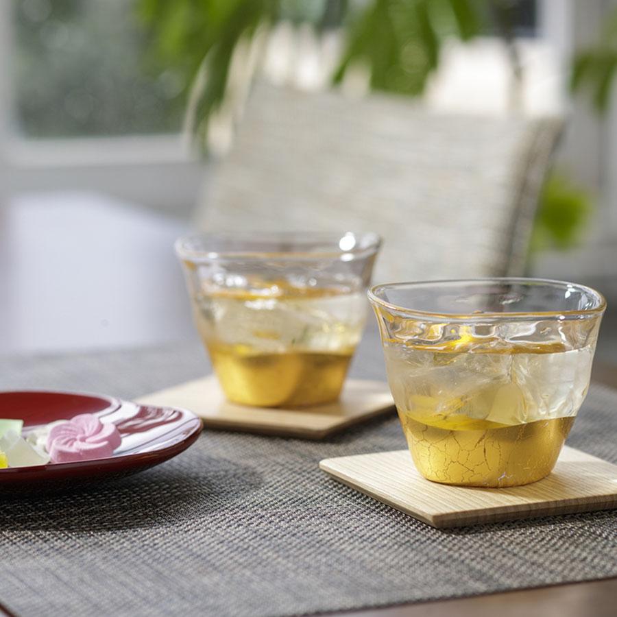 箔一 貫入  冷茶椀&コースター2個ペアセット