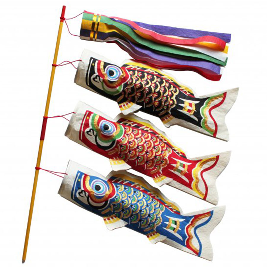 【季節限定】桂樹舎 和紙型染鯉のぼり 生き生き鯉小3匹セット 端午の節句 子供の日