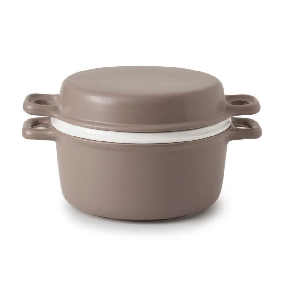 かもしか道具店 三とく鍋(茶)煮る・焼く・蒸す 陶器