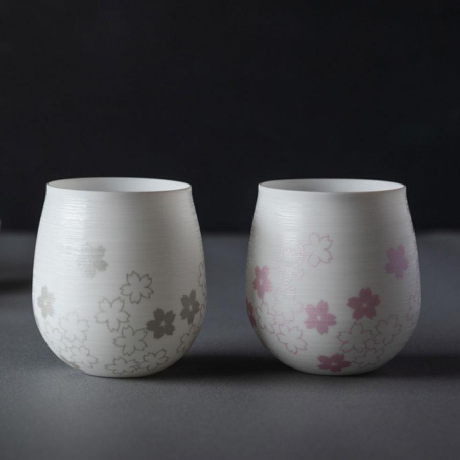 やま平窯元  エッグシェル 桜 Kaori Lサイズ Pink&Silverペアセット  ギフト