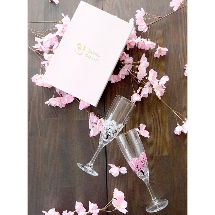 丸モ高木陶器 冷感桜 シャンパングラスペアセット