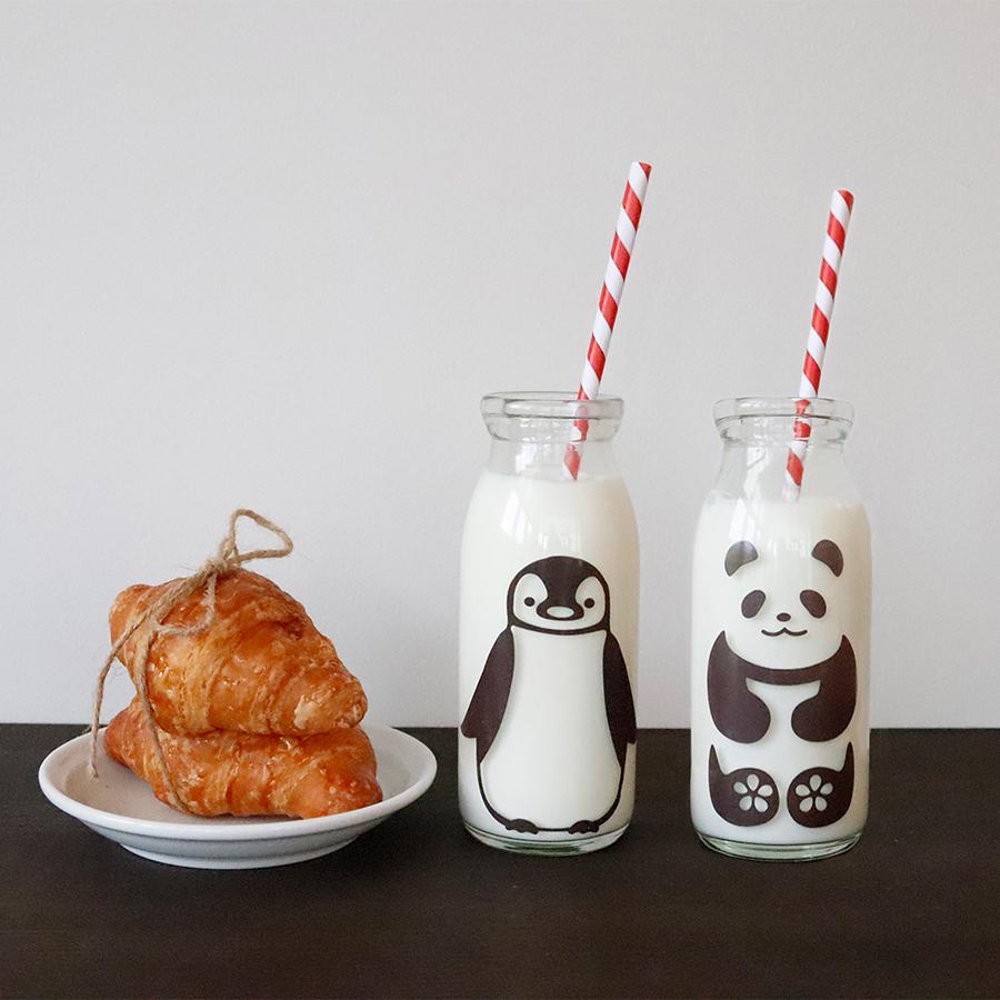 丸モ高木陶器 冷感ミルクボトル 牛乳スマイルグラス 4ケ入
