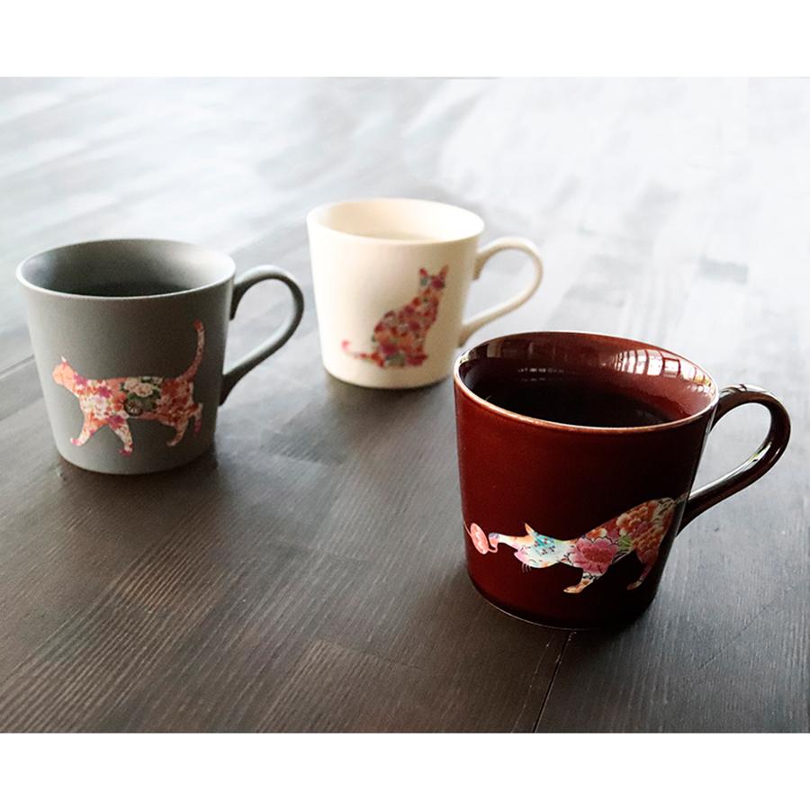 丸モ高木陶器 温感ネコマグカップ 3個セット