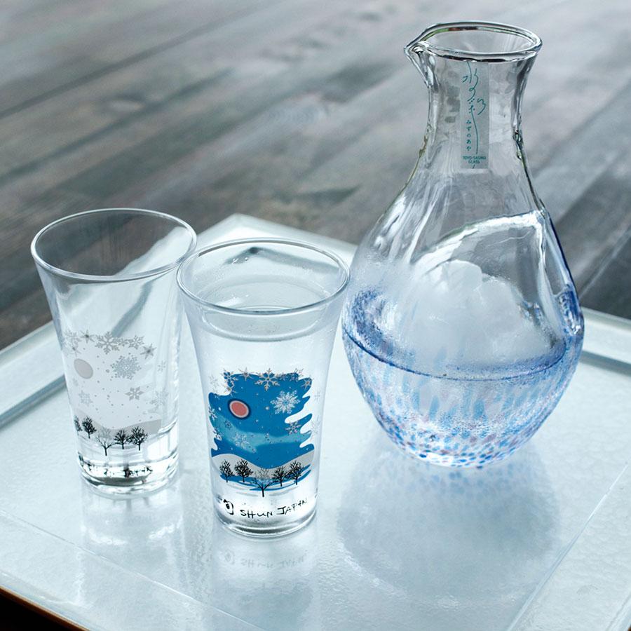 丸モ高木陶器 冷感雪結晶 グラス天開 ペアセット